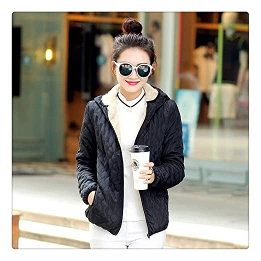 Uciquzhon Long Sleeve Diamonds Partern Artificial Fleece Inside Hooded Short Winter Coats Women Parka Autumn Outwear