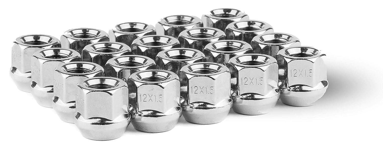 M14x1.5 Thread,Bulge Acorn Wheel Lug Nut Set Pack of 24 Race Secure 86309 Triple Chrome Plating,Open-End