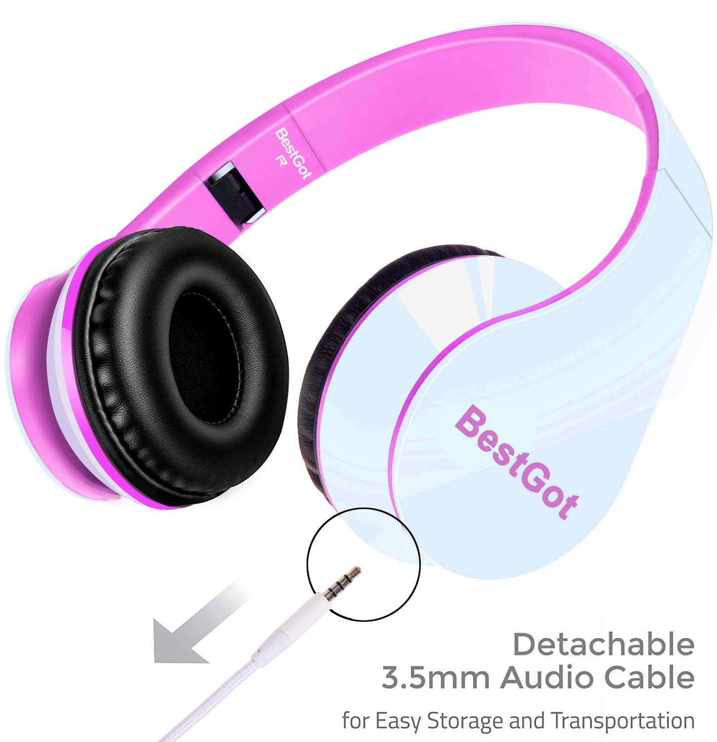BestGot Kids Headphones Girls Over Ear with Microphone for Kids Adult in-line Volume with Transport Waterproof Bag Foldable Headphone with 3.5mm Plug Removable Cord (White/Pink) by Bestgot (Image #8)