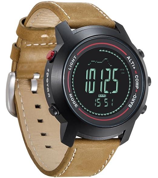 Spovan Reloj Digital Hombre Altímetro Barómetro Termómetro Sportivi Multifunzione Impermeable Cuero Orologi Militari: Amazon.es: Relojes