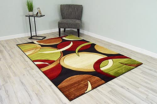 Premium 3D Effect Hand Carved Thick Modern Contemporary Abstract Area Rug Design 1062 Black 9'2''x12'5''