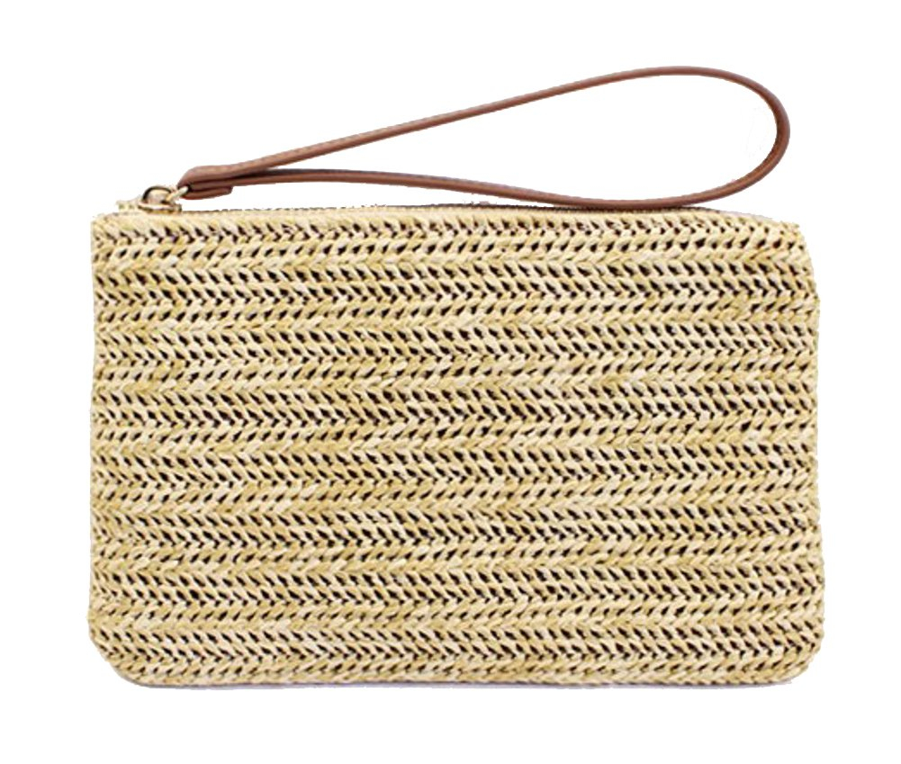 Agneta Women's Hand Wrist Type Straw Summer Beach Sea Handbag (Beige Large)