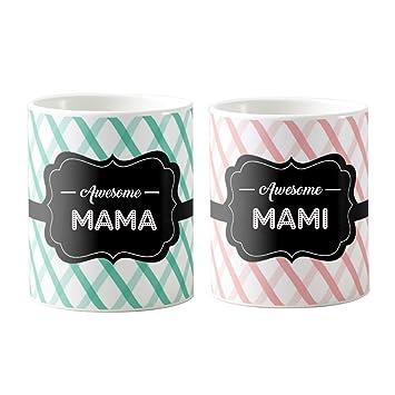 Buy Designer Panda Awesome Mama Mami Printed Ceramic Coffee Mugs For