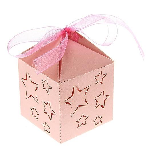 ROSENICE 50 Piezas Caja para Bombones Caramelos Dulces Caja para Regalo Recuerdos de Bautizos Bodas Fiesta Cumpleaños con Cintas (Estrella Rosa)