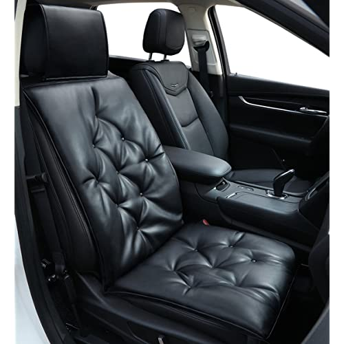 Car Seat Cushion Soft Leather Pad Protector Premium Cotton Keep Comfortable Universal Four