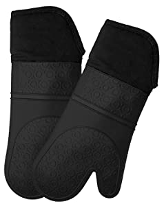 LOAZRE 20 Silicone Oven Mitts for 500F with Waterproof, Professional Heat Resistant Potholder Kitchen Gloves - Pair (Black)