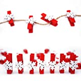 50PCS Christmas Wooden Clothespins, Mini