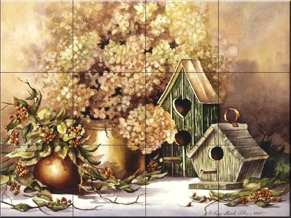 Ceramic Tile Mural Antique Birdhouses by Peggy Thatch Sibley Kitchen backsplash//Bathroom Shower