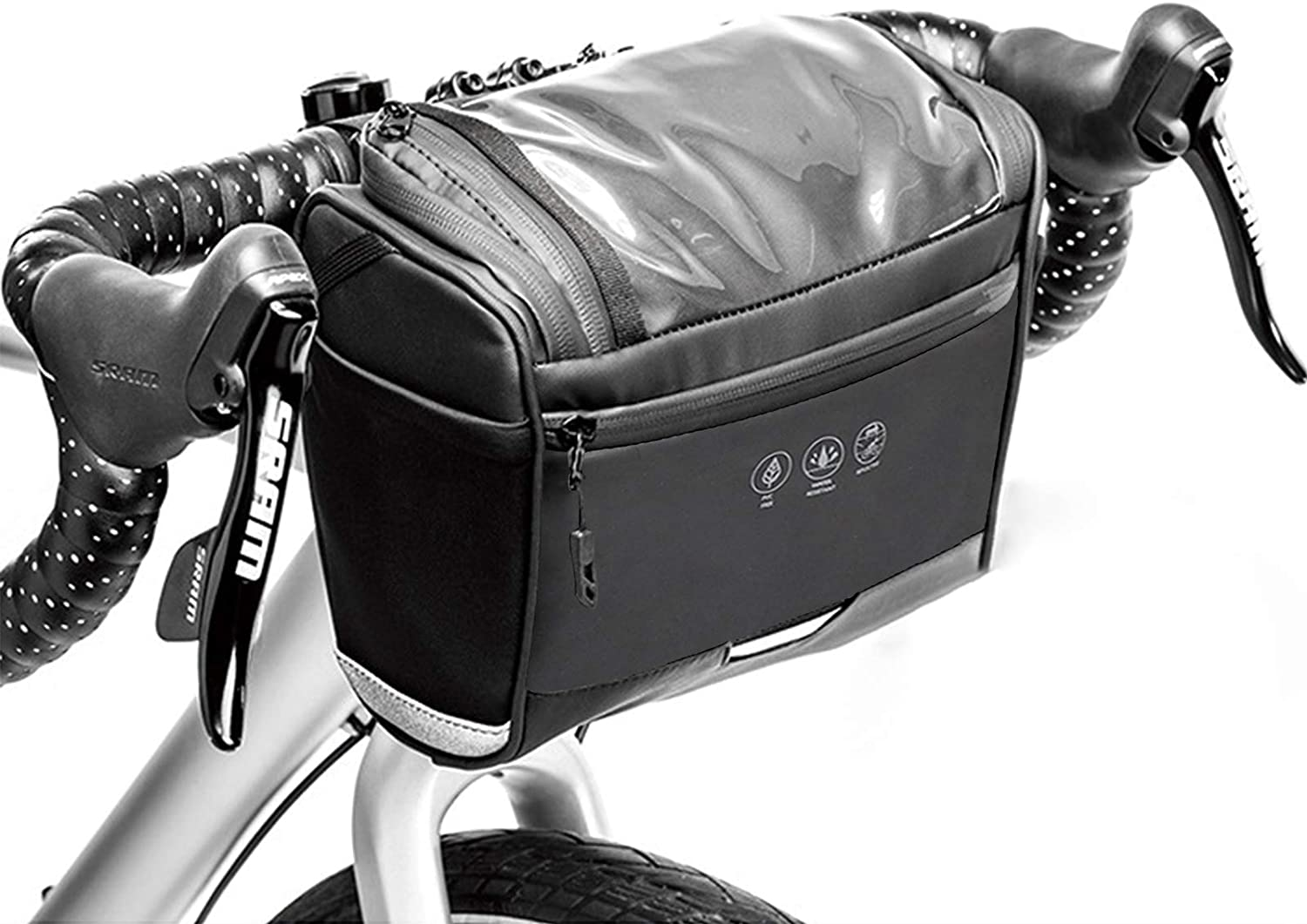 DeepRoar Bike Storage Bag Front Frame Bag with Touch Screen Phone Holder Waterproof and Large Capacity Handlebar Storage Basket Bag for Road and Mountain Bike