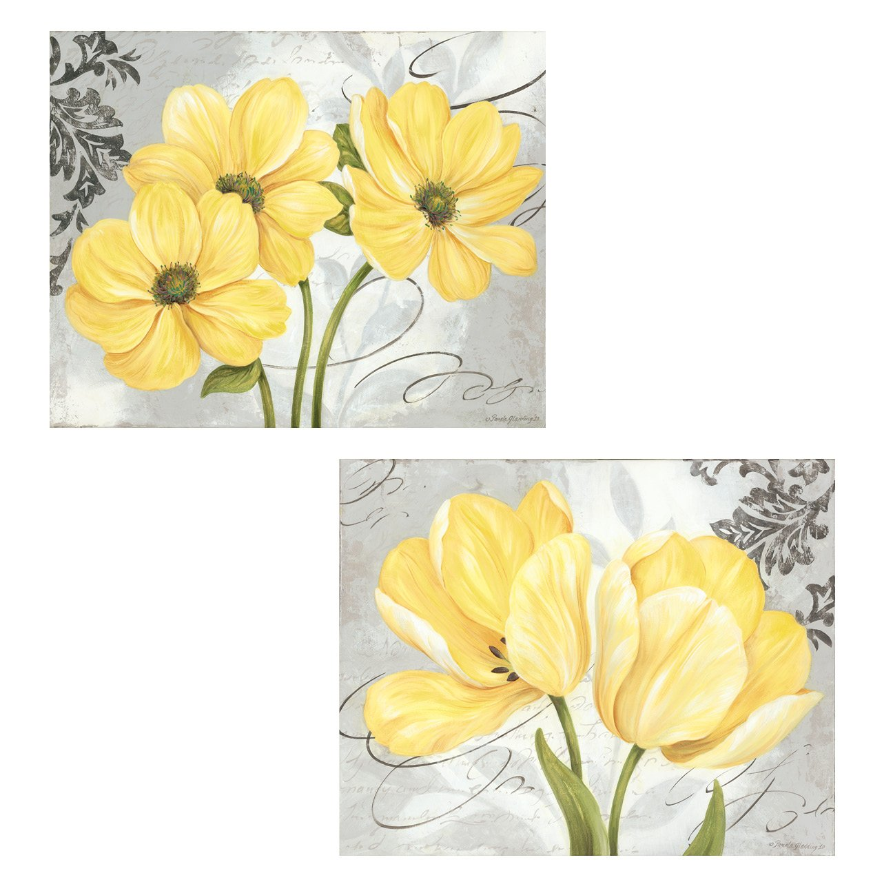 Amazon Beautiful Grey Yellow Blooming Flower Prints Two
