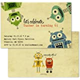 Amazon robot fill in birthday invitations toys games friendly robots personalized childrens birthday party invitation filmwisefo Images