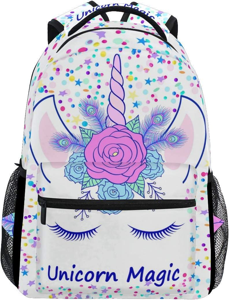 ZOEO Unicorn Backpack for Girls Backpacks Cream Pink Unicorn Magic 3th 4th 5th Grade School Bags Bookbags for Teen Kids Travel Laptop Daypack Bag Purse