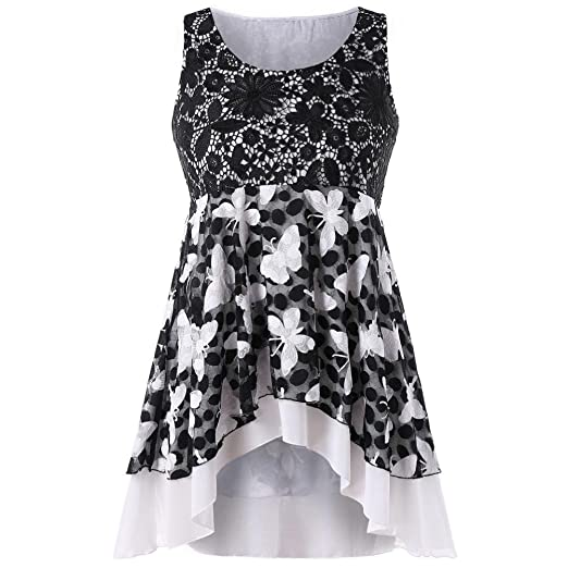 e9009907224 Amazon.com  Vicbovo 2018 Fashion Womens Summer Lace Crochet Butterfly  Pattern Tunic Tank Tops Sleeveless Blouse Shirts Plus Size  Clothing
