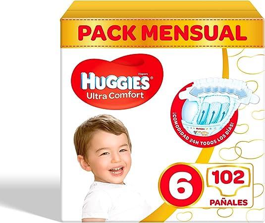 Pañales para bebé Huggies Ultra Comfort, talla 6 (15-30 kg), 102 unidades