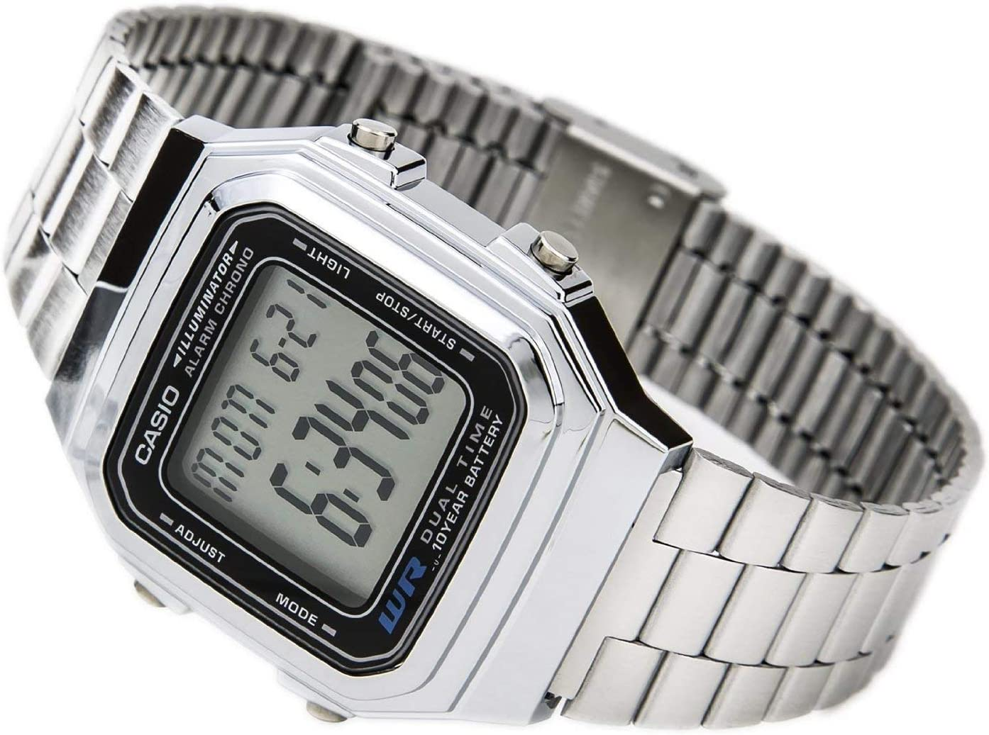Casio Water Resistant Illuminator Bracelet Mens Digital Watch, with Multi-Function Alarm with Snooze and Stopwatch, Auto Calender Features, Water Resistant, Metal Band