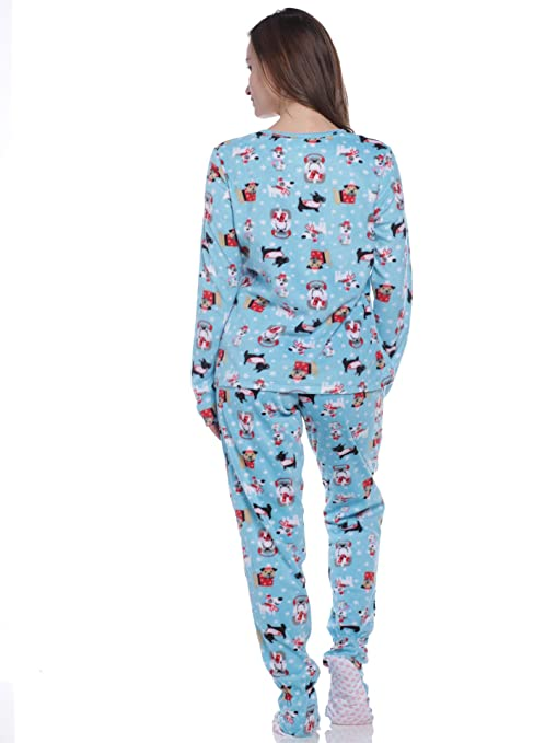 Pillow Talk Women s Fleece Footed Pajamas at Amazon Women s Clothing store  92949552b