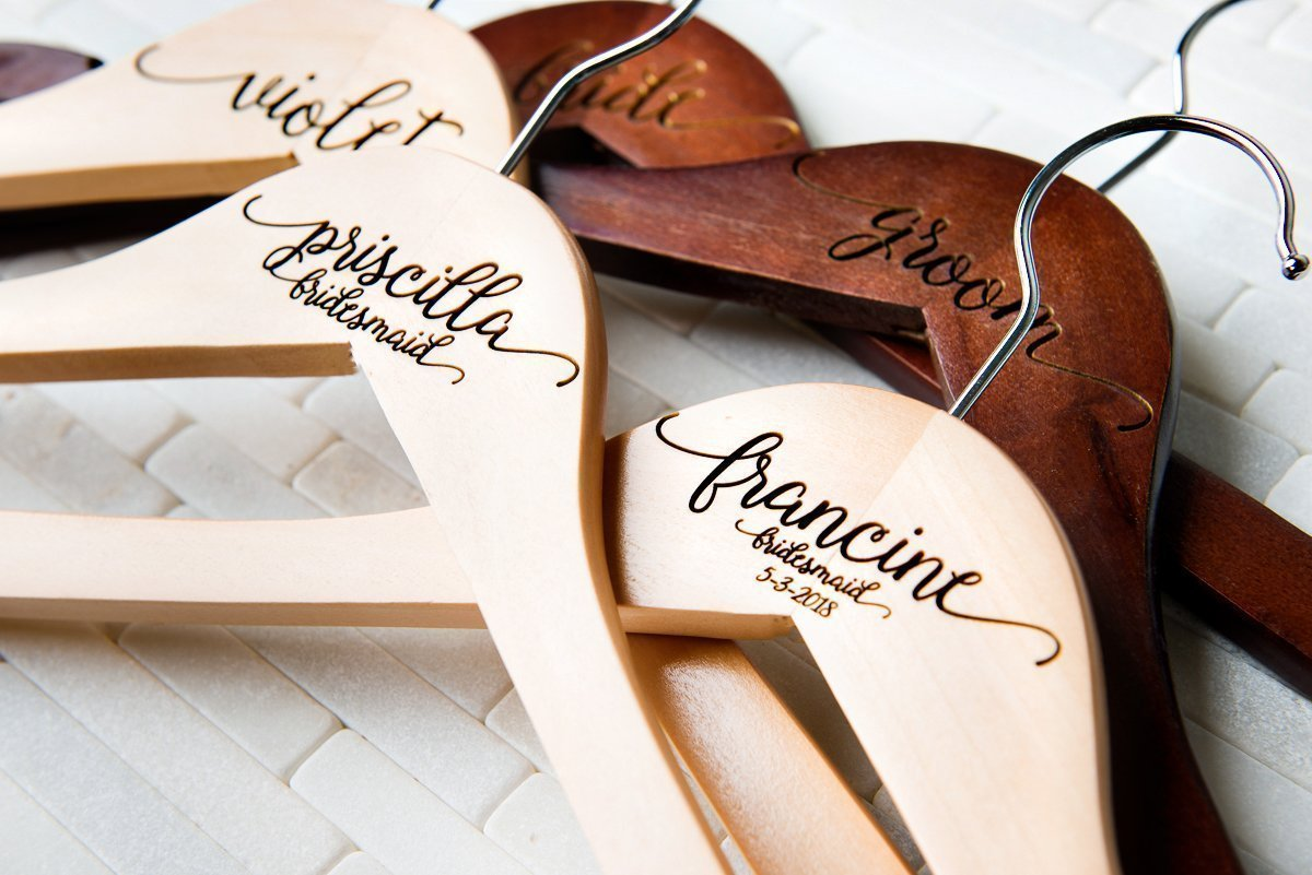 10 Wedding Dress Hangers Personalized Calligraphy Bride Bridesmaid Gift for the Couple Matron Maid of Honor Engraved Wood Quick Ship