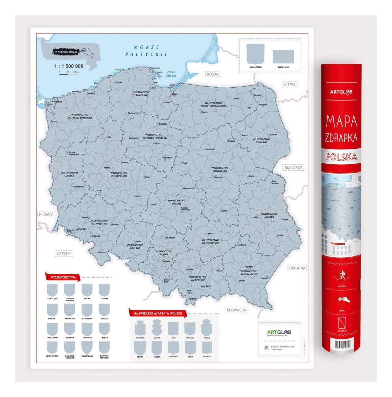 Mapa Zdrapka Polska Skala 1 1 500 000 9788363618728 Amazon Com