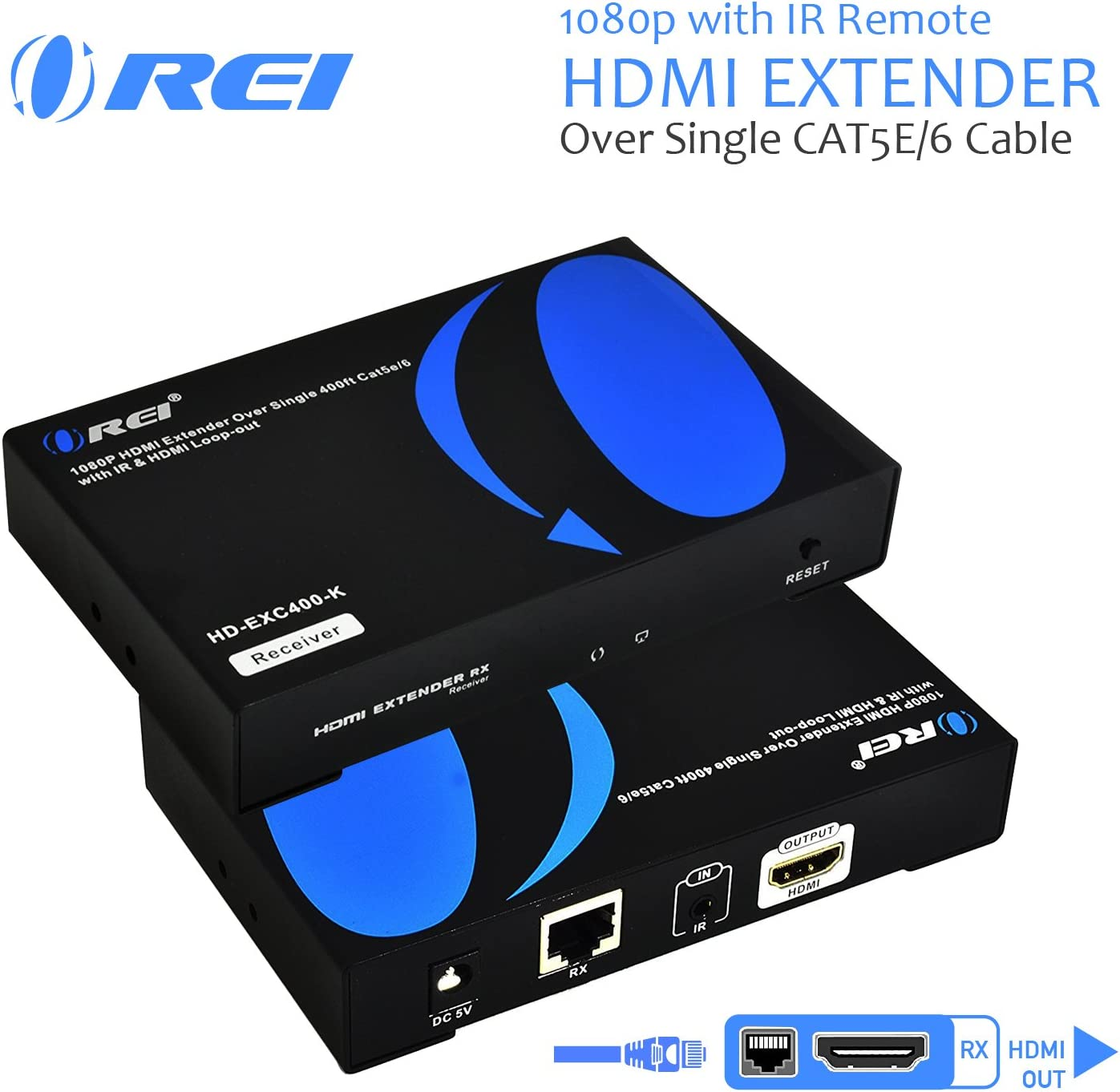 OREI 1080p HDMI Extender Over Ethernet Single CAT6/CAT7  One to Many - 1080P Upto 400 Feet