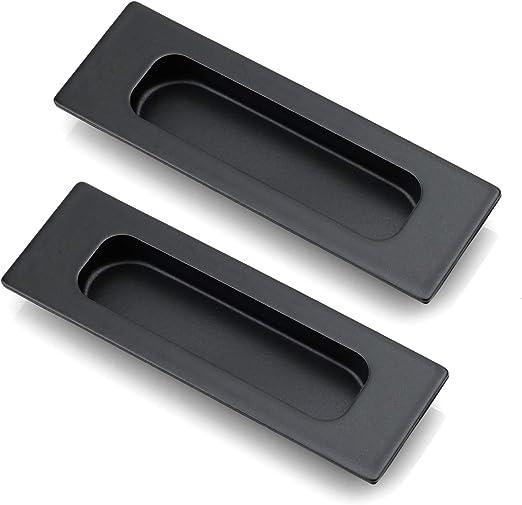 Odoukey Los Mangos Puerta establecidas para Puertas corredizas con Tiradores de Acero Inoxidable Negro Dedo Tirador Palanca para Puertas correderas de Madera de Puerta de Granero