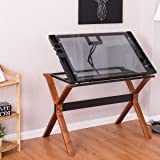 Tangkula Drafting Table Home Office Glass Top Adjustable Drawing Desk