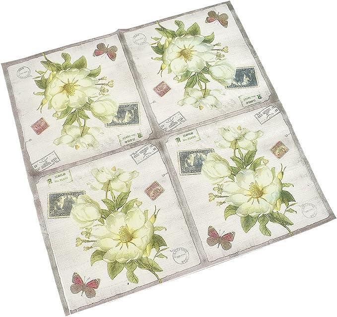 Kesheng Servilletas de papel floral para fiesta paquete de 20 unidades