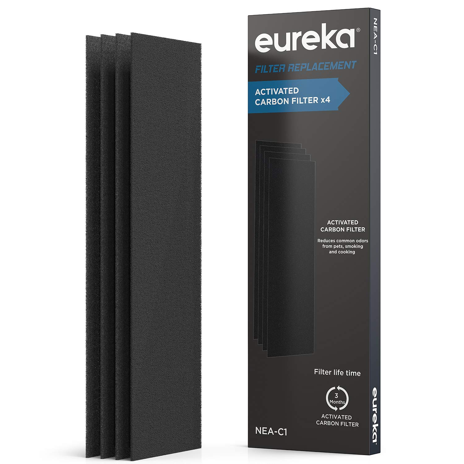 Eureka NEA120 Air Purifier Filter NEA-C1, Activated Carbon Filter x 4, Replacement for InstantClear NEA120