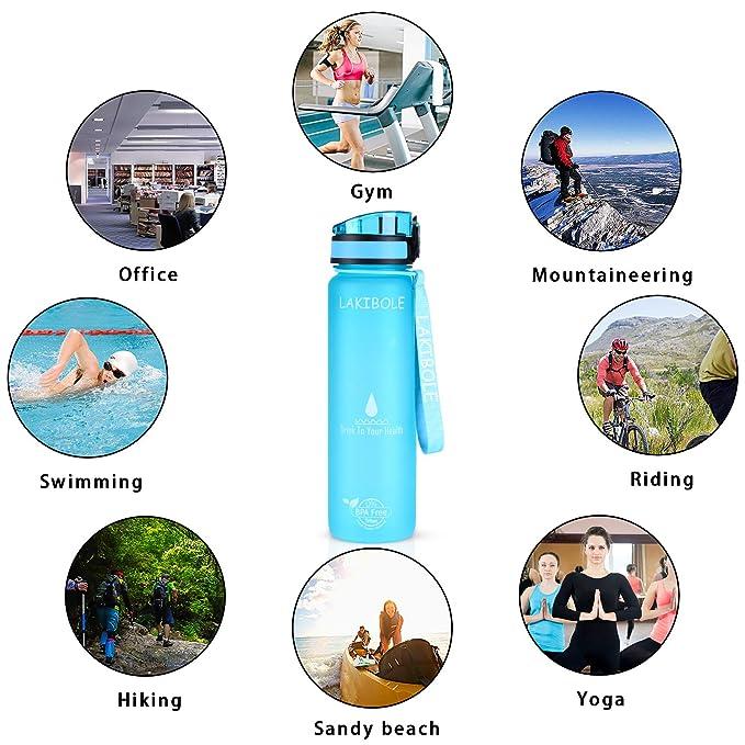 Amazon.com: LAKIBOLE Botella de agua de 32 oz sin BPA con ...