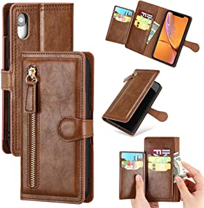 Compatible with iPhone XR PU Leather Flip Wallet Case with ID&Credit Card Holder Magnetic Leather Zipper 5 Card Slots Money Pocket Cover for iPhone XR 6.1 inch 2018 (XR Brown)