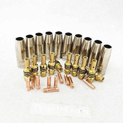 30 piezas 15AK Linterna/Pistola consumibles, boquilla de gas/Puntas de soporte, para máquina de soldadura MIG/MAG