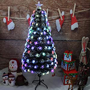 WW&TT Flocked Snow Fiber Optic Christmas Tree,pre-Bed Easy Assembly Hinged Metal Base Xmas Tree with Muticolor Lights and Star Tree Topper-a 6.9ft(210cm)