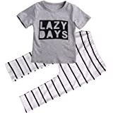 Baby Toddler 2 Pcs Letter Cotton Shirt + Striped Pants Set Outfit Casual Suit