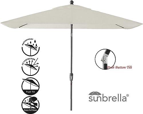Secret Garden Home Goods Pismo Dawn 9' x 7' Rectangular Premium Push Tilt Market Umbrella Starring Grey