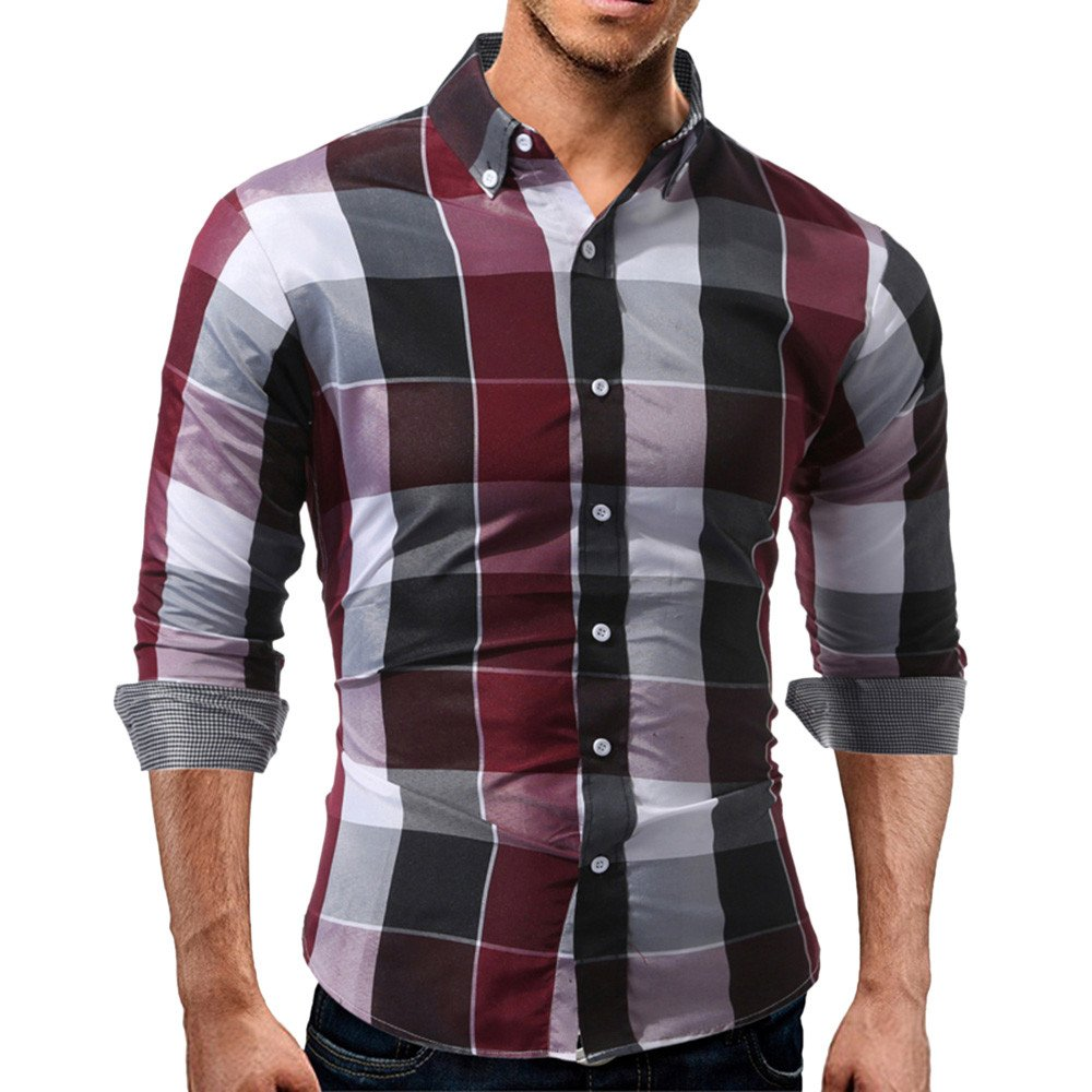 Allywit Men's Long Sleeve Slim Fit Cotton Plaid Shirts Business Shirt