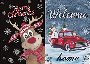 YHmall 2 Pcs Welcome Merry Christmas Garden Flag Double Sided Christmas Tree and Garland Yard Home (Blue)