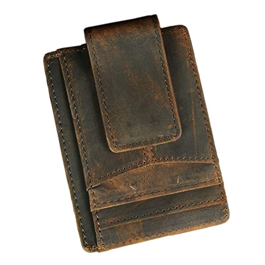 504dd40fe94e Le'aokuu RFID Leather Minimalist Slim Wallet Front Pocket Card Case Money  Clip