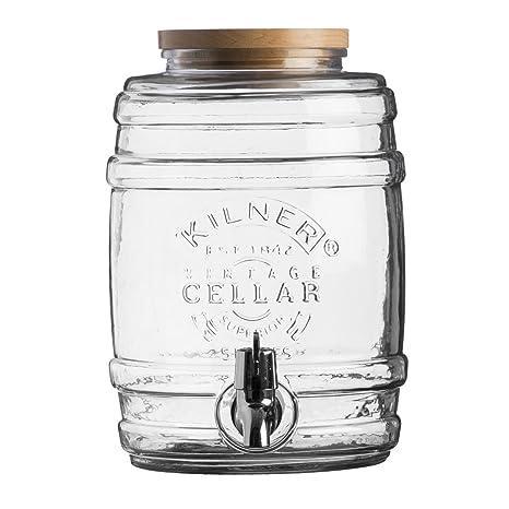 """Dispensador de bebidas """"barril 5 l, cristal, con Tapa de madera"""