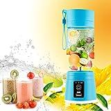Portable Juicer Multifunction 380ML Mini USB Electric Fruit Juicer CUP Rechargeable Smoothie Maker Blender Drink Bottle (BLUE)