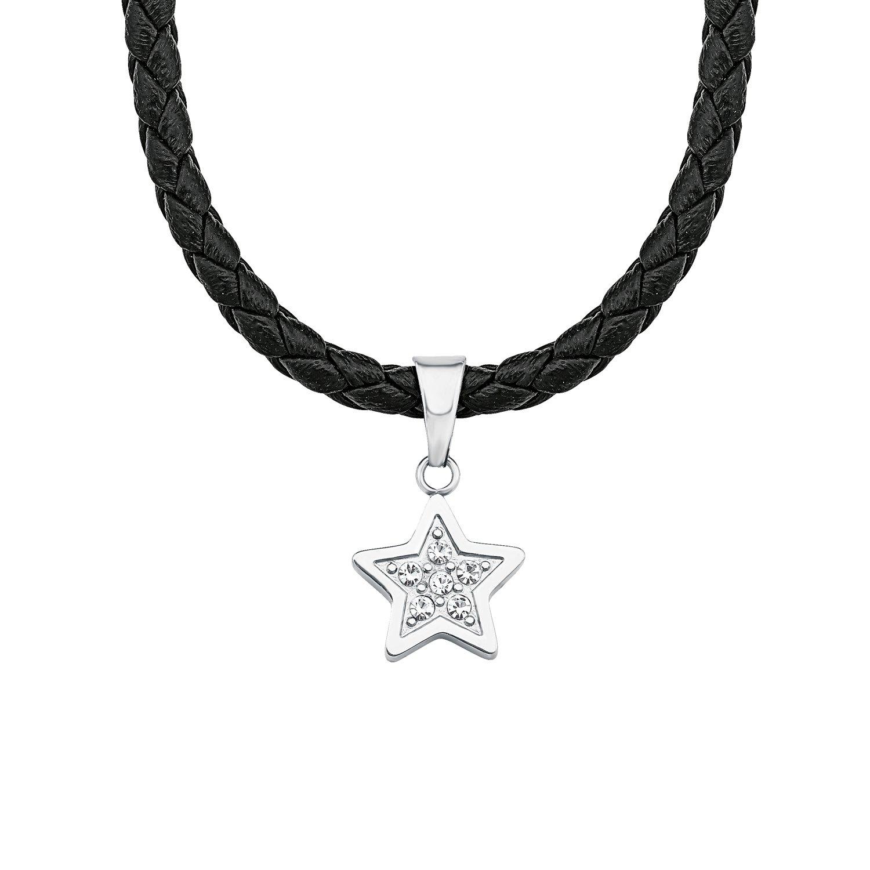 S.Oliver Kinder Collier Stern Edelstahl Leder schwarz Glas Kristalle 37+3 cm weiß 2018513