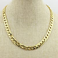 Zhichengbosi Gold Chain Necklace, 20 Inches Ultra Luxury Look& Feel Real Solid 14k Gold Plated Curb Fake Chain Necklace 6 mm