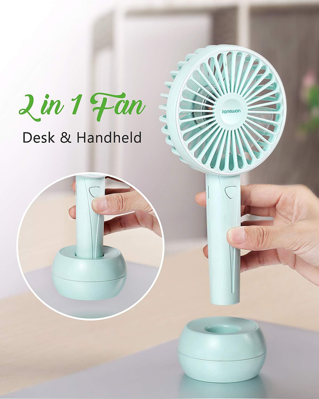 HAMSWAN AG20 Mini USB Desk Handheld Fan Rechargeable Fish Tail Portable Fan (White)