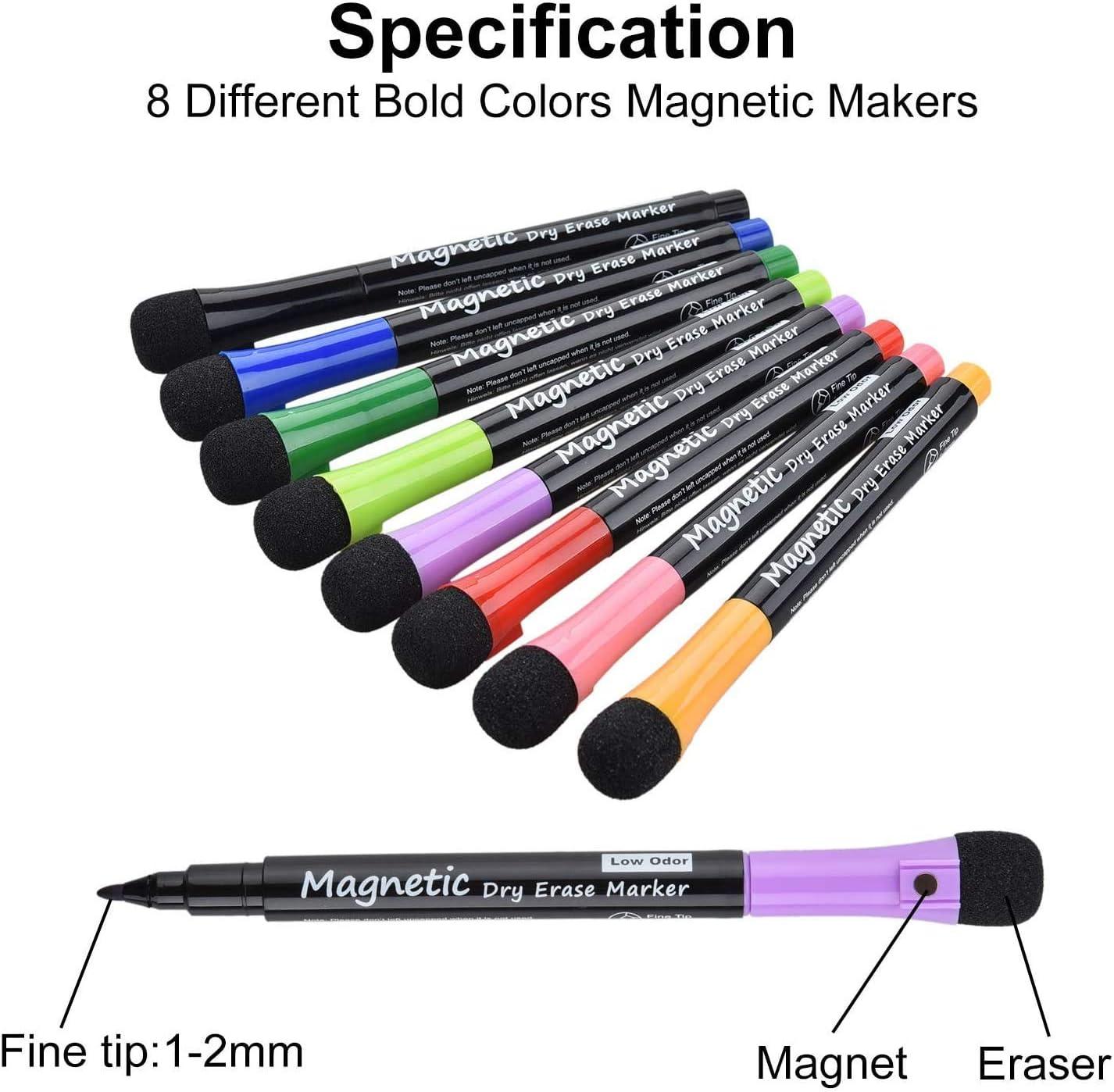Newin Star Dry Erase Markers 8Pcs Lavagna Penna Magnetica Dry Erase Board Bianco cancellabile Pennarello Penne con Incorporato Eraser