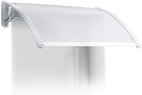 Relaxdays Front Door or Window Canopy, Plastic, Aluminium, Size 80 x 60 cm, Arched Awning, Transparent, 60x80x20 cm