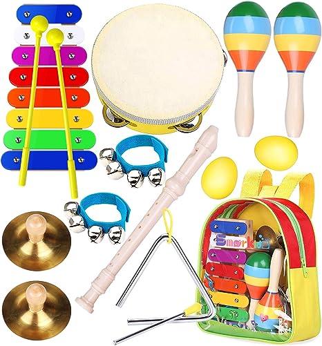 Smarkids juguetes musicales para niños, instrumentos musicales infantiles Juguetes de instrumentos de percusión educativos pandereta xilófono maracas ...