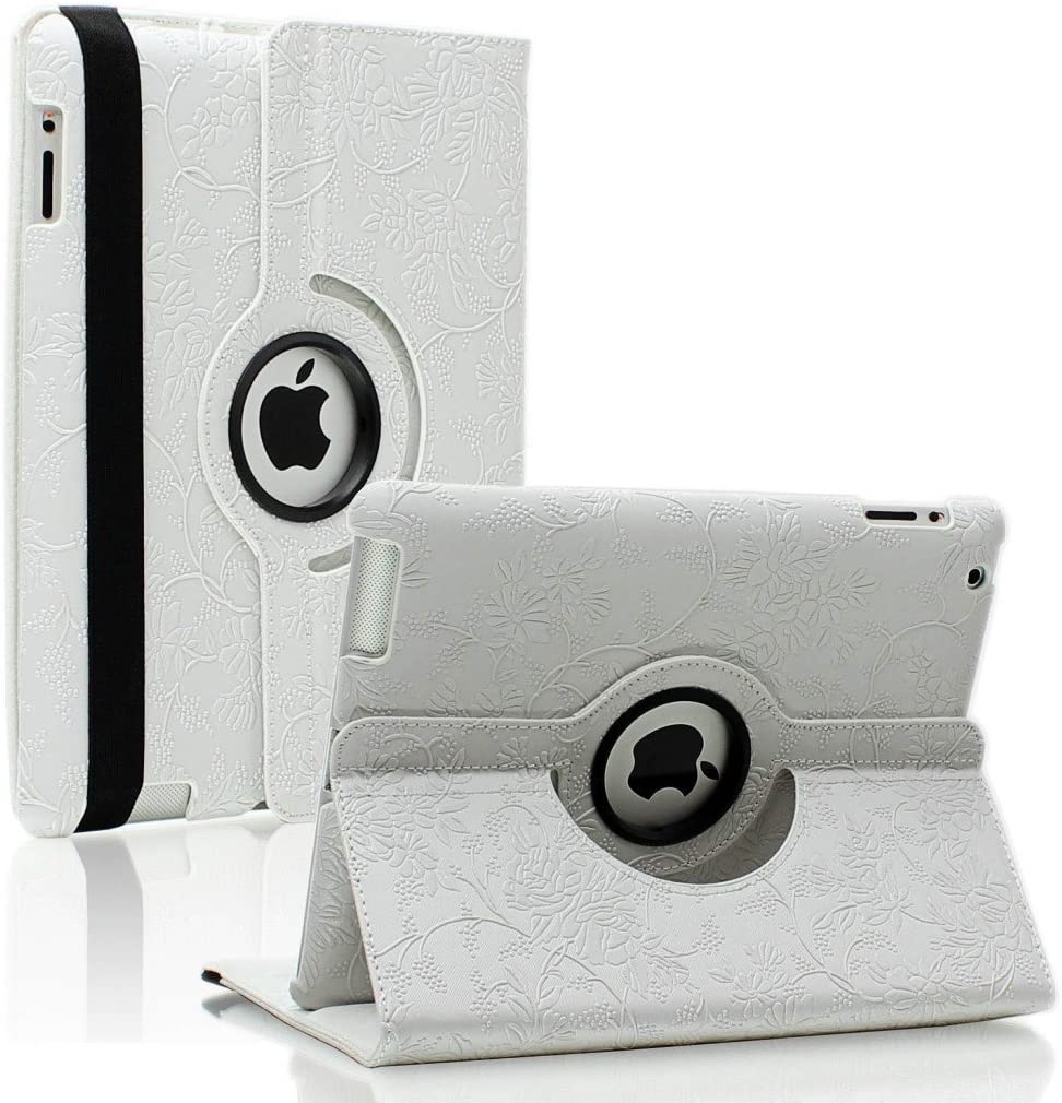 Singpad 360 Degrees Rotating Stand Stylish Embossed Flowers Leather Case Cover for Apple ipad 4th Generation Retina Display/The New Ipad 3 / Ipad 2, Supports Smart Cover Wake/Sleep Function (White)
