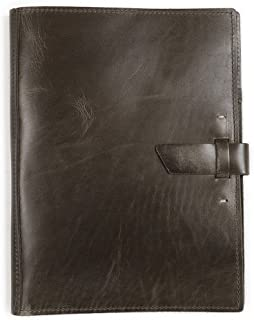product image for Leather Large Pad Portfolio by Rustico with Hand-Stitched Closure, 10 by 12.5 Inches, Charcoal, Made in The USA