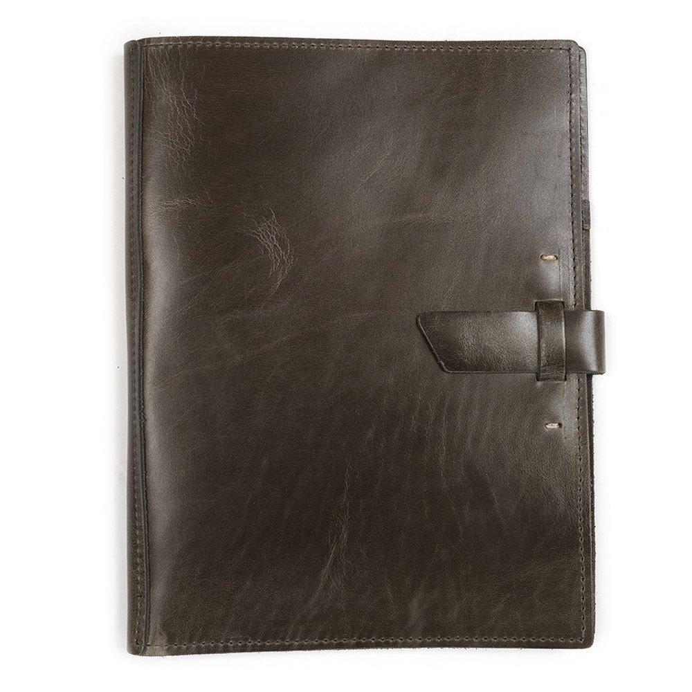 Leather Large Pad Portfolio by Rustico with Hand-Stitched Closure, 10 by 12.5 Inches, Charcoal, Made in The USA