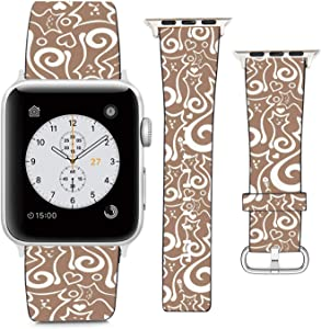 Compatible with Apple Watch Wristband 38mm 40mm, (Abstract Kitten Cat Pattern) PU Leather Band Replacement Strap for iWatch Series 5 4 3 2 1