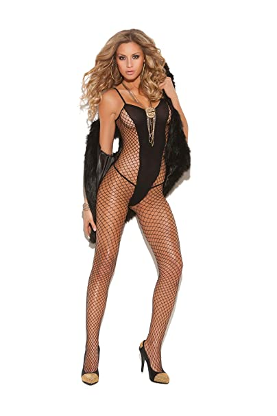 5aa3ac5824 Image Unavailable. Image not available for. Color  Zabeanco Diamond Net and Opaque  Bodystocking with Spaghetti Straps ...