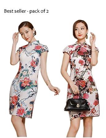 Beloved One Women Elegant Midi Cotton Chinese Dress Cheongsam